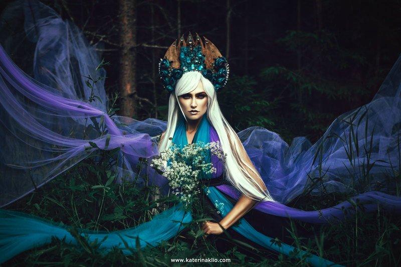 portrait, violet, fairy, fairy tale, forest, art, fine art, fantasy, creative Violet forest nymphphoto preview