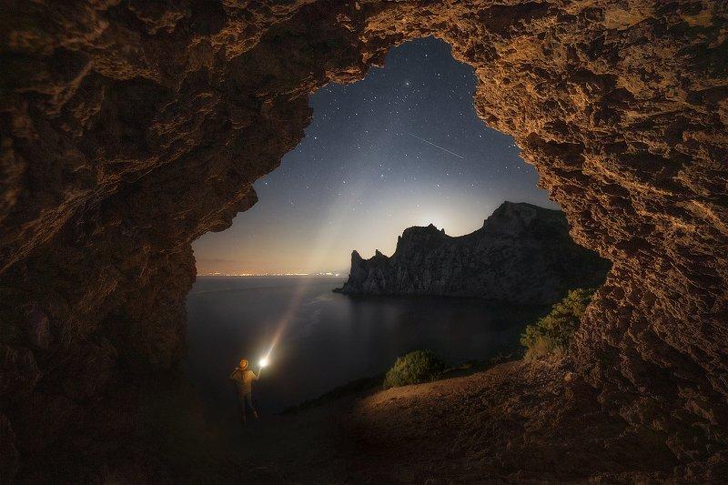 звезды, ночь, караул-оба, новый свет, капчик, пейзаж, море, горы, фонарь \