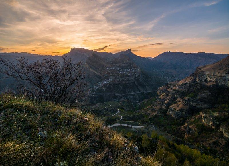 природа, пейзаж, горы, кавказ, природа россии, дикая природа, закат, свет, облака, вечер, весна, Гунибphoto preview