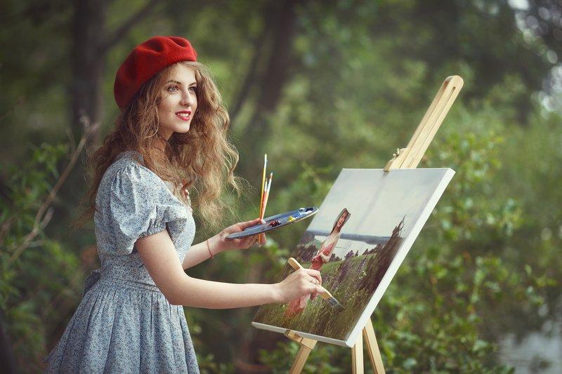 портрет, женский портрет, улыбка, холст, художница, лето Елена фото превью