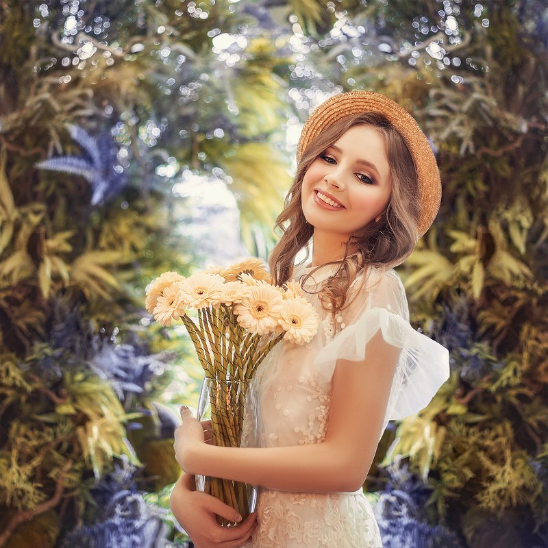 girl, portrait, flowers, summer, yellow, smile, девушка, портрет, цветы, улыбка, желтый, теплый, лето photo preview