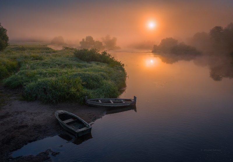угра,рассвет,утро,пейзаж В объятьях тумана... фото превью