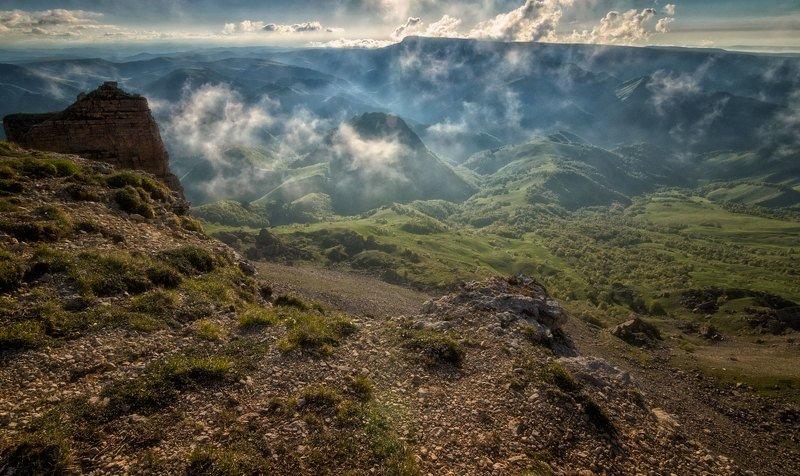 кавказ,горы,плато,туман,закат, Незабываемый Бермамыт.photo preview