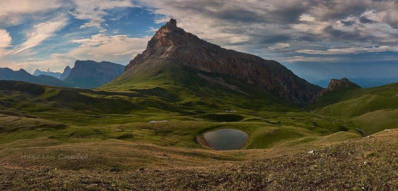 кавказ, горы, перевал, озеро, вечер, тоторс, торс Перевал Тоторсphoto preview