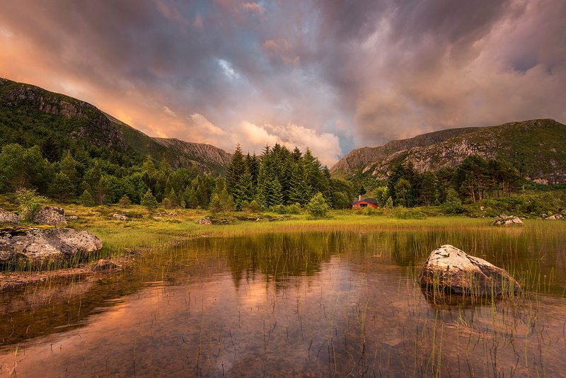 norway,nature,mountains,light,sunset,forest Norwegian nature фото превью