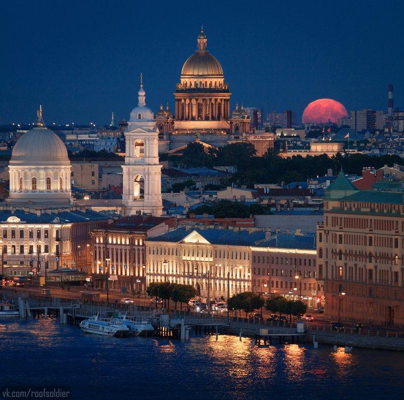 луна, полнолуние, храм, город, крыша, ночь, санкт-петербург, россия, пейзаж Сегодня ночью над Петербургомphoto preview