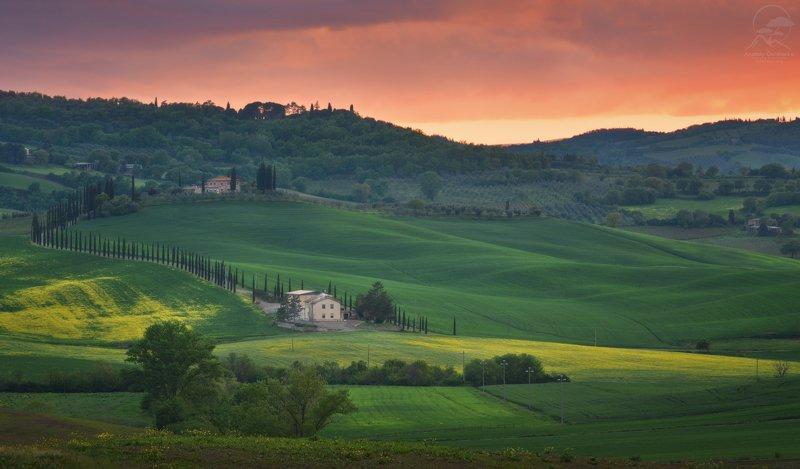 пейзаж, природа, тоскана, италия Тосканские закаты фото превью