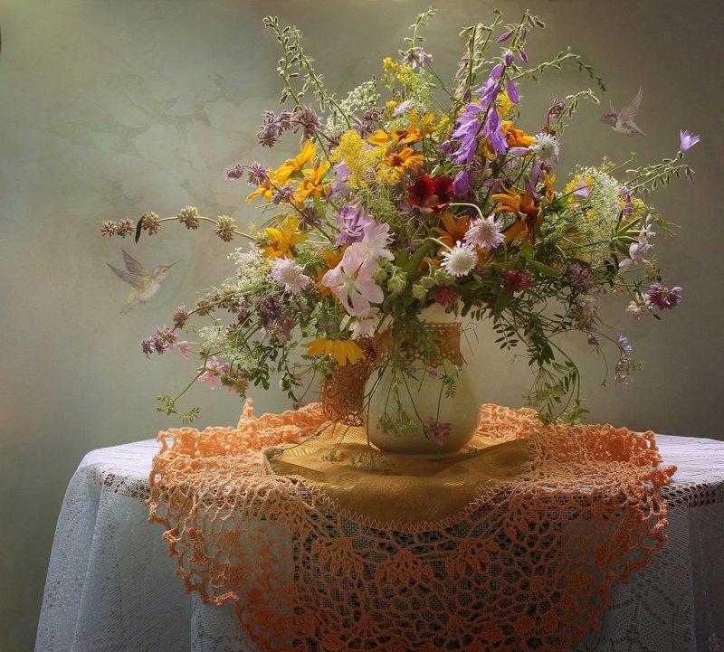 лето,  полевые цветы, ромашки, колокольчики Цветочные фантазии фото превью
