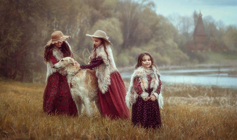 детство, детский портрет, лето, девочки, настроение, сестры, шляпки, собака, борзая, осень Три сестрыphoto preview