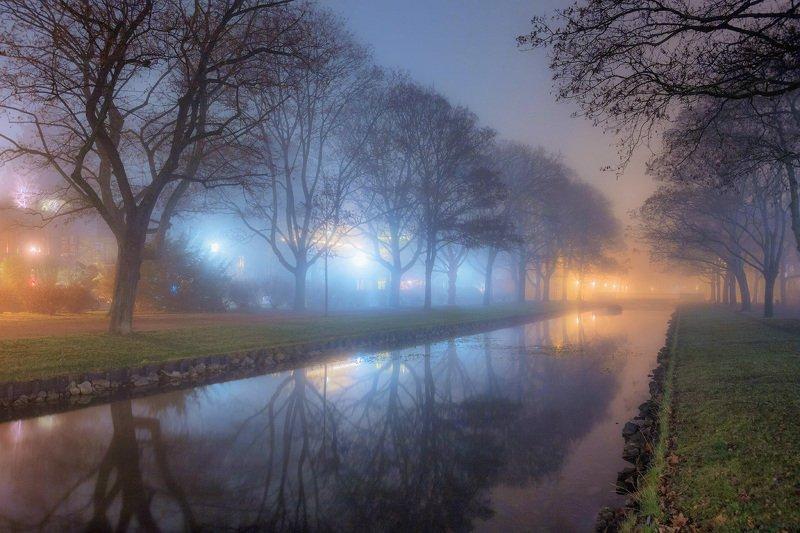 вечер, канал, туман, свет Туманphoto preview