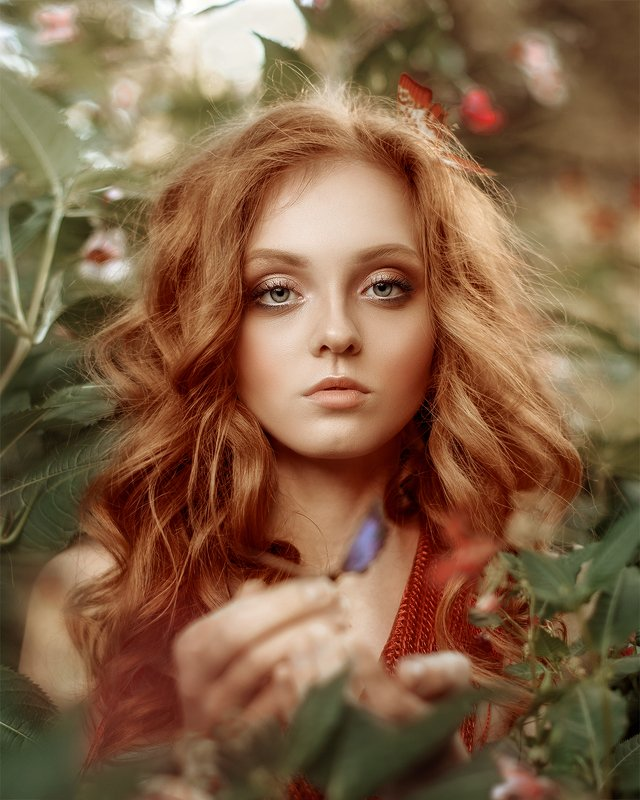 портрет, девушка, природа, бабочки, красный, рыжие волосы, portrait, girl, woman, red hair, red head, summer, butterfly, outdoor photo preview