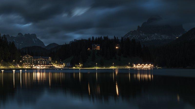 alps, panorama, dolomiti, bykovsergey, dolomites, night, night, photography, mood, blue, silence, rocks, peaks, cluouds, glacier, wbpa,nature, beautiful, stunning, view, thenorthface, landscape, lake Lago Misurinaphoto preview
