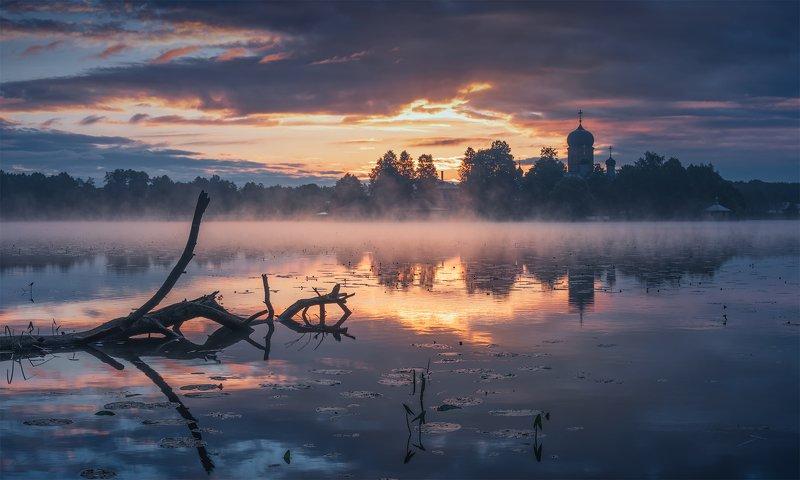 утро, рассвет, природа, туман, река, введенское, монастырь Утренний оркестрphoto preview