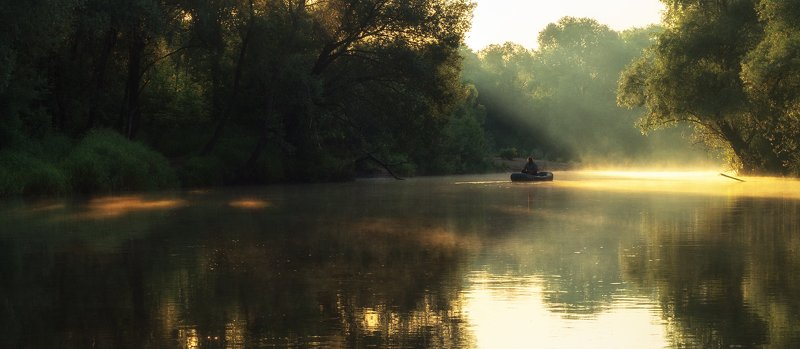алексей платонов брянск, пейзаж, утро, озеро, туман,болва , рыбак на лодке Про рыбакаphoto preview