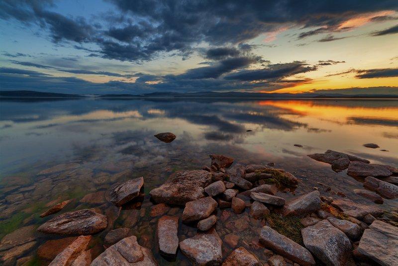 озеро, закат, вечер, горы, вода, камни, берег, южный урал, лето Вечер на Большом Кисегачеphoto preview