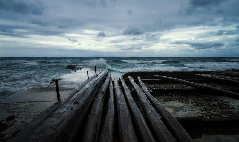 море греция афон халкидики шторм путешествия природа travel landscape athos sea storm nature Штормphoto preview