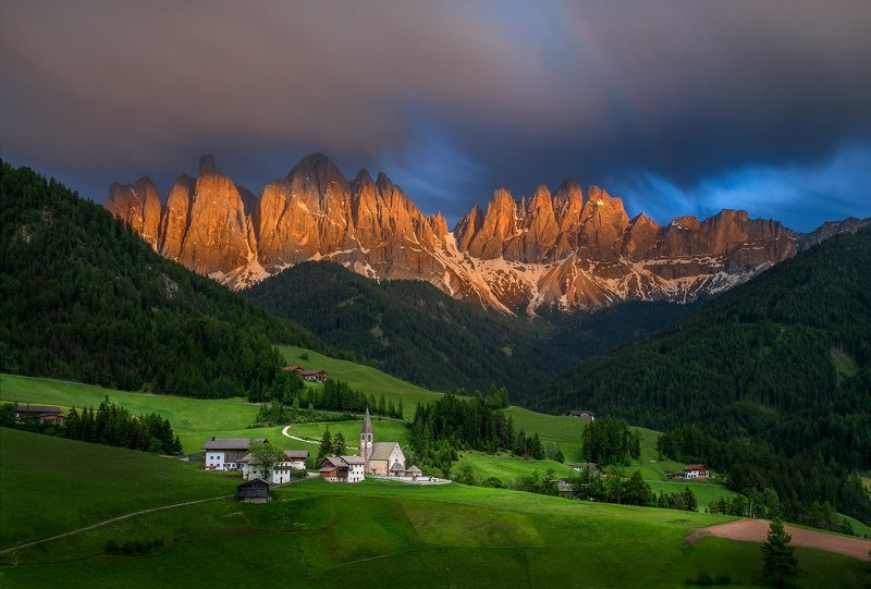 landscape, nature, scenery, chapel, church, clouds, mountain, sunset, lowexposure, italy, dolomites At sunset in the Dolomitesphoto preview