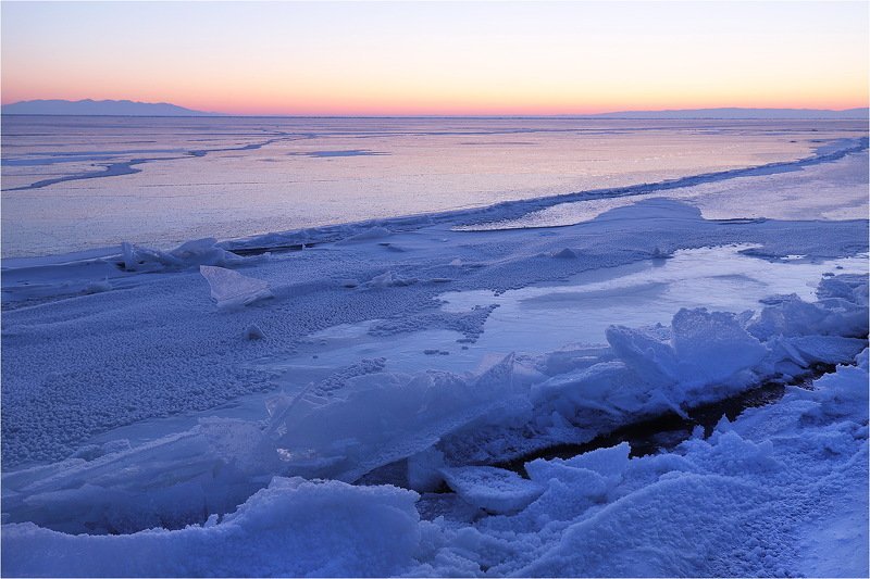 утро, зима, февраль, байкал, озеро, лёд, трещина, холод, Свежая трещина.photo preview