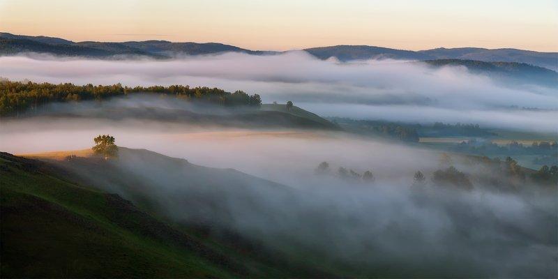 утро, рассвет, восход, туман, лучи Уральский окоёмphoto preview