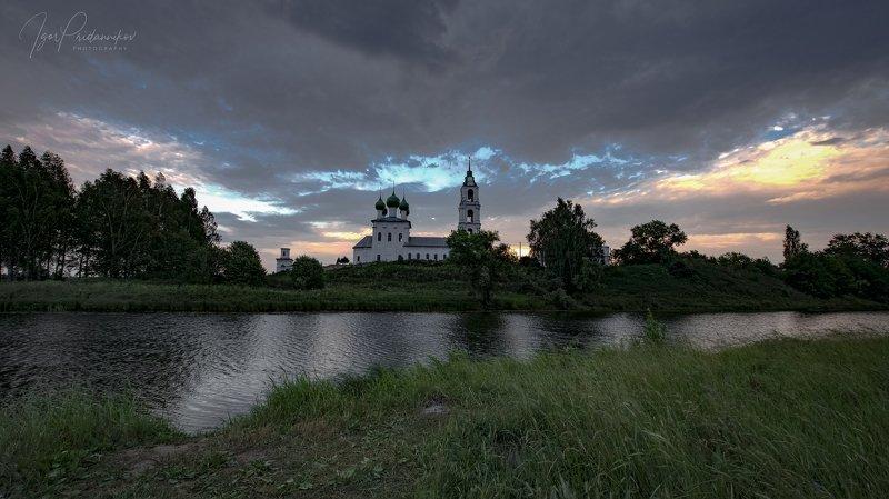 церковь, вечер, диево городище, речка, шиголость Тихий вечерphoto preview