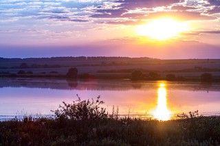 Рассвет над  пруду