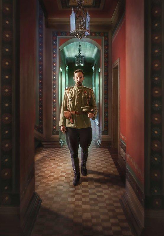 мужской портрет, история, царь, мундир, военная форма, реконструкция, постановочное фото Не император, но офицер.photo preview
