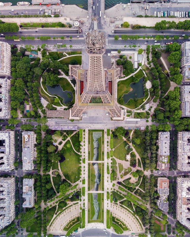 Париж, дрон, эйфелева башня, город Эйфелева башняphoto preview