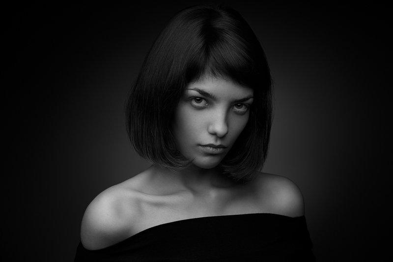 портрет, девушка, студия, чб ***photo preview