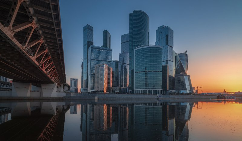 утро, рассвет, река, москва Городская тишинаphoto preview