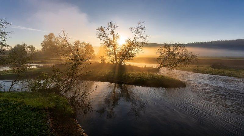 утро, рассвет, восход, туман, лучи Рассвет на Красной рекеphoto preview