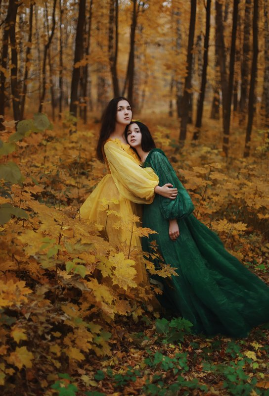 autumn and summer, girl, nymphs, portrait, art, autumn Autumn and Summerphoto preview