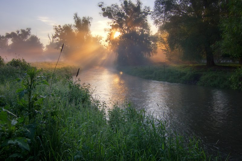 рассвет, река, туман, солнце, утро Рассвет у рекиphoto preview