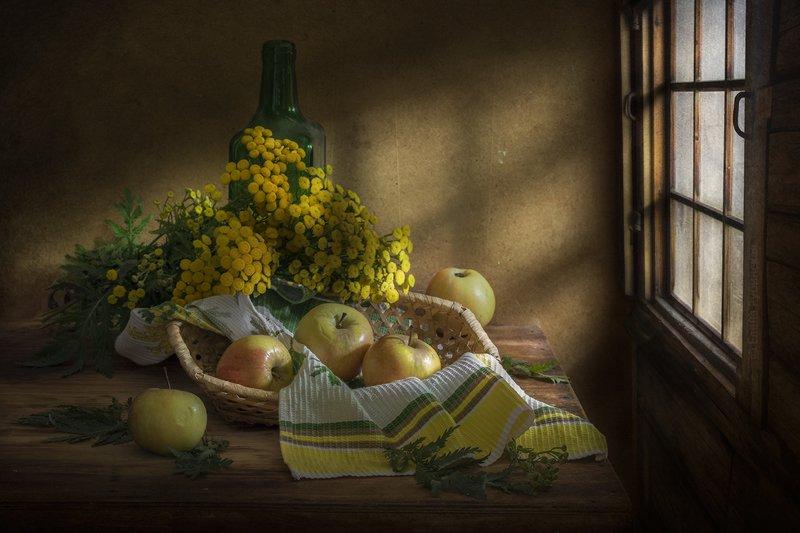 натюрморт,яблоки,пижма,моё любимое окно Летоphoto preview