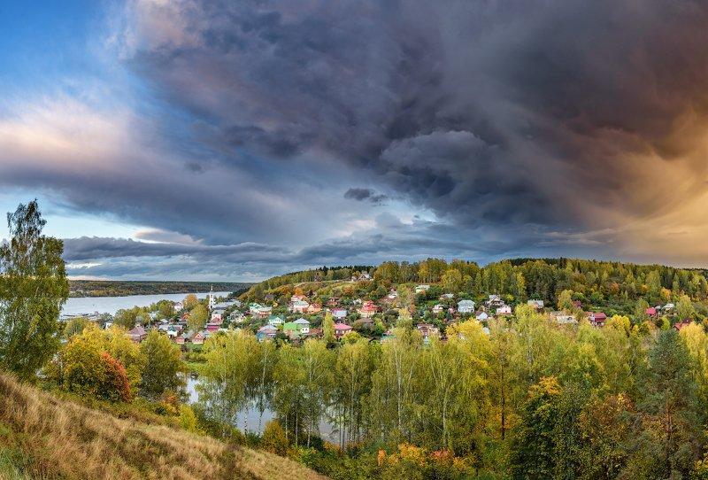 плёс, кот, закат, волга, осень, облака, После дождяphoto preview