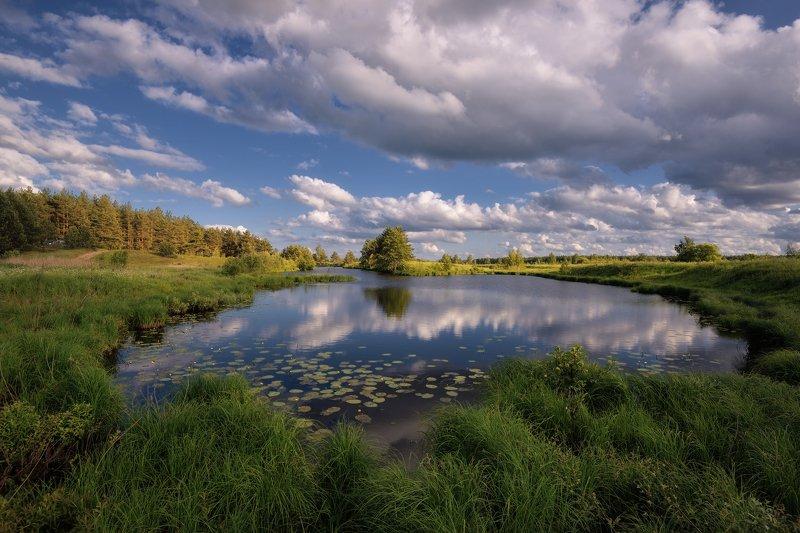 лето,река,небо,облака летний деньphoto preview