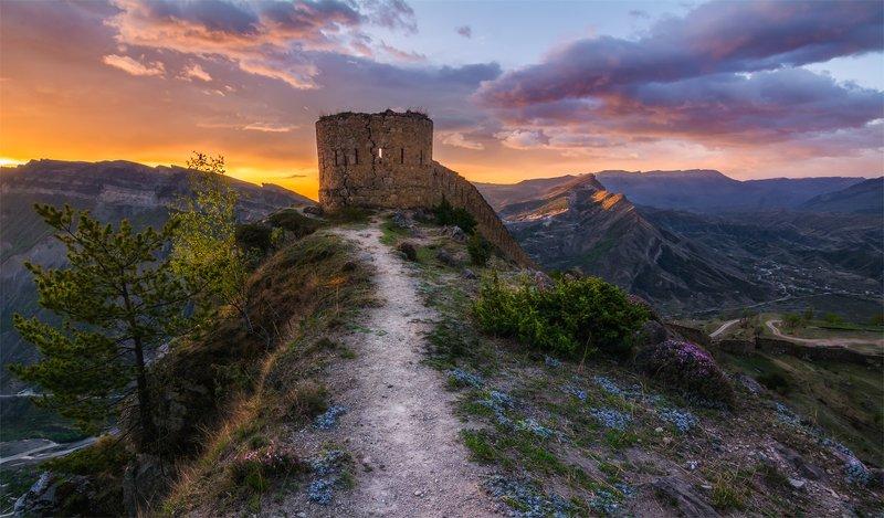 природа, пейзаж, горы, кавказ, природа россии, дикая природа, рассвет, свет, облака, утро, весна, Башня Шамиляphoto preview