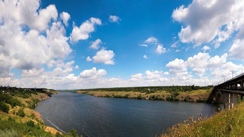 пейзаж,река,облака,небо,мост,панорама Июньphoto preview