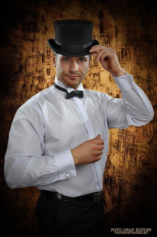 мужчина, шляпа, сорочка, запонка, взгляд Владphoto preview