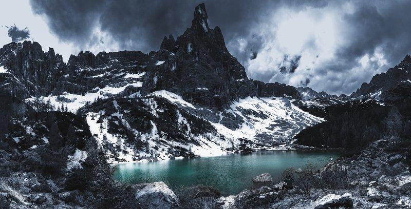 rocks, peaks, cluouds, explore, mood, sorapis, dolomites Lake Sorapisphoto preview