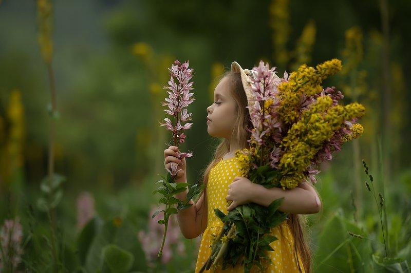 детский портрет, дети, детская фотография, девочка, горные цветы, портрет Хорошо летом в горахphoto preview