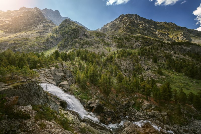 горы, облака, природа, алтай, рассвет, река, путешествие, россия, озеро В гостях у сказки, водопад Куйгукphoto preview
