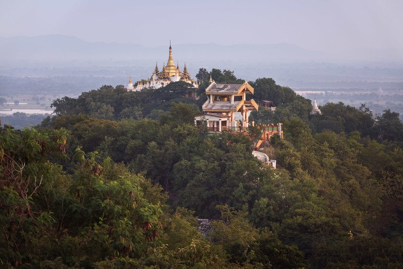 architecture, asia, asian, attraction, blue, buddha, buddhism, buddhist, building, burma, burmese, city, columns, complex, culture, evening, exterior, golden, heritage, hill, historic, history, landmark, mandalay, monument, myanmar, outdoor, padamyar, pag The Land of Temples фото превью