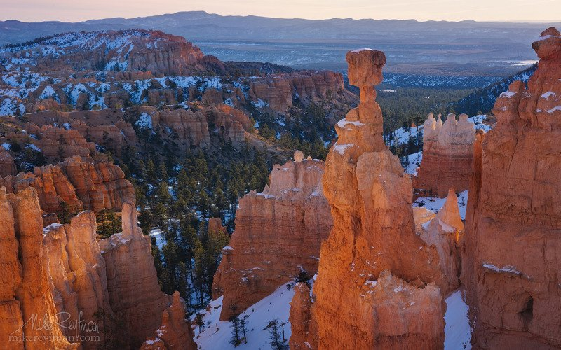 america, arid, natural beauty, bryce canyon, cold, colorful, dawn, erosion, formation, geologic, hoodoos, landscape, mountains, national, park, sandstone, snow, southwest spires, start, sunrise, usa, utah Bryce Classicphoto preview