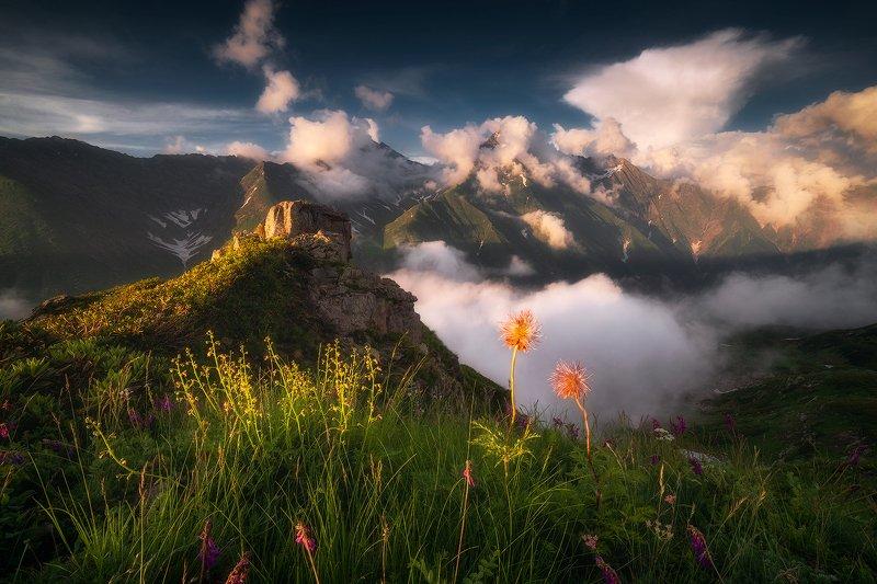 горы, облака, закат, пейзаж, кавказ Сон-траваphoto preview