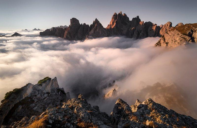 мъгла, Доломити, върхове, планини Доломити - Италияphoto preview