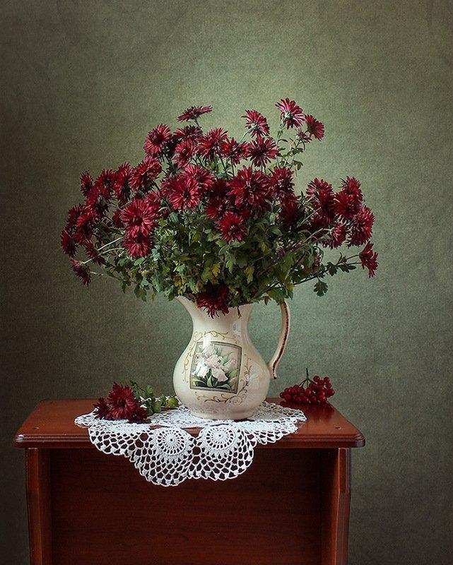 цветы, ваза,хризантемы, салфетка. Хризантемыphoto preview