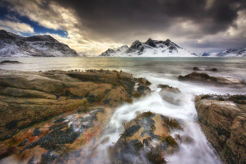 lofoten, vikten, mountains, seascape, landscape, mystic, soothing, water, light, seascape, norway Lofoten landscapephoto preview