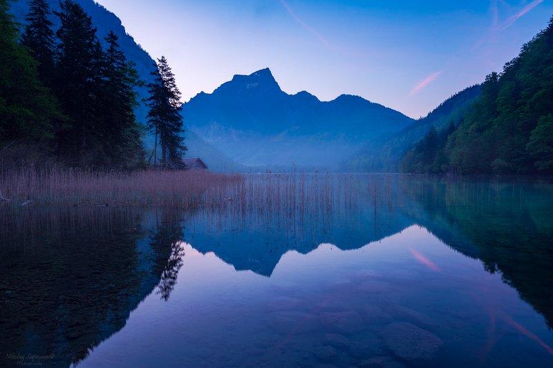 австрия, штирия, альпы, озеро, ледниковое озеро, горы, рассвет, отражения \