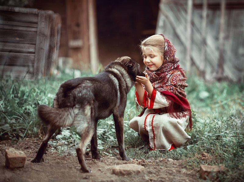 детство, детский портрет, лето, девочка, настроение, славяночка, собака, друзья, постановочная фотография Друзьяphoto preview