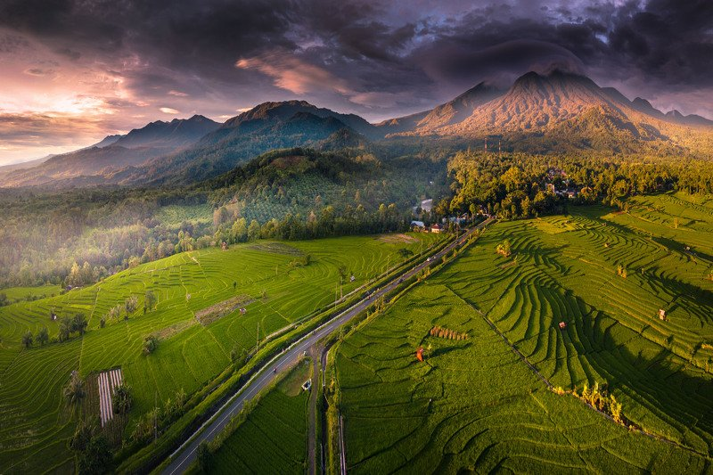 landscape, nature, mountain, kemumu, aerial mountain range miss sunset in the seasonphoto preview